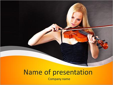 Шаблон презентации Молодая женщина скрипачка - Титульный слайд