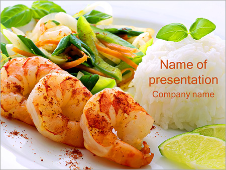 Шаблон презентации Креветки с овощами и рисом - Титульный слайд