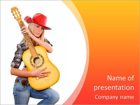 Шаблон презентации Девушка в ковбойской шляпе с гитарой - Титульный слайд