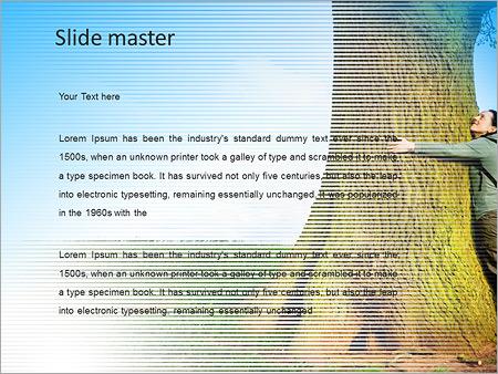 Шаблон PowerPoint Мужчина обнимает дерево - Второй слайд