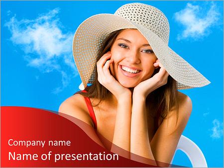 Шаблон презентации Красивая улыбающаяся женщина в шляпе - Титульный слайд