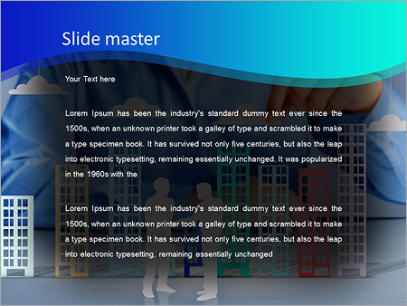 Шаблон PowerPoint Строительство города в руках бизнесменов - Второй слайд