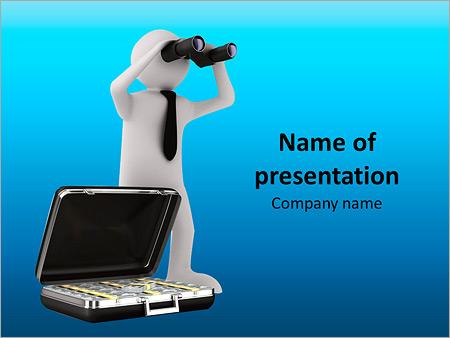 Шаблон презентации Фигурка с чемоданом денег смотрит в бинокль - Титульный слайд