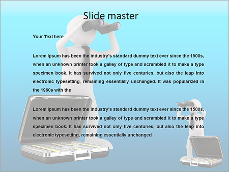 Шаблон PowerPoint Фигурка с чемоданом денег смотрит в бинокль - Второй слайд