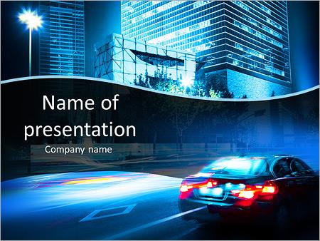 Шаблон презентации Современный автомобиль по ночному городу - Титульный слайд