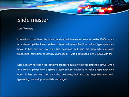 Шаблон PowerPoint Современный автомобиль по ночному городу - Второй слайд
