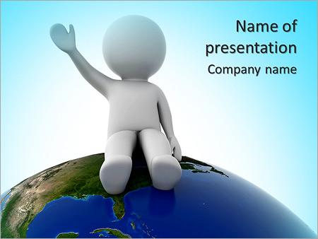 Шаблон презентации Человек сидит на планете - Титульный слайд