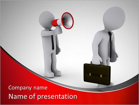 Шаблон презентации Человек кричит через рупор - Титульный слайд