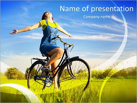 Шаблон презентации Счастливая девушка на велосипеде - Титульный слайд