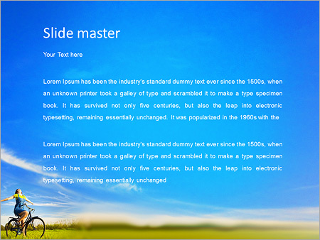 Шаблон PowerPoint Счастливая девушка на велосипеде - Второй слайд