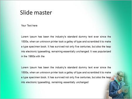 Шаблон PowerPoint Молодой человек в очках и с планшетом - Второй слайд