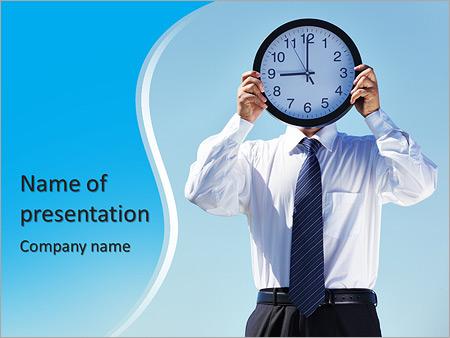 Шаблон презентации Бизнесмен с большими часами - Титульный слайд