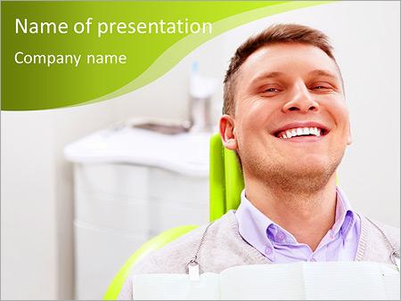 Шаблон презентации Довольный пациент в стоматологическом кресле - Титульный слайд