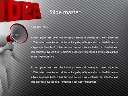 Шаблон PowerPoint Фигурка человека с рупором в руках - Второй слайд