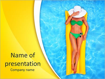 Шаблон презентации Девушка на надувном матраце в бассейне - Титульный слайд