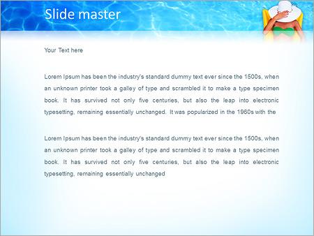 Шаблон PowerPoint Девушка на надувном матраце в бассейне - Второй слайд