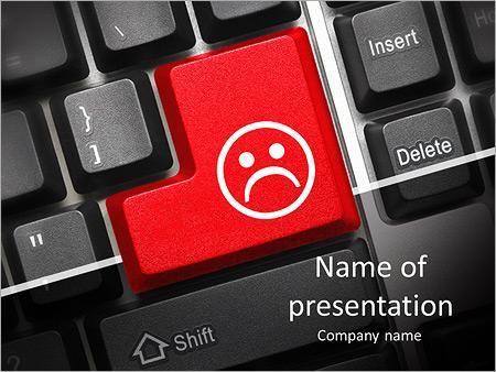 Шаблон презентации Кнопка грустный смайл - Титульный слайд