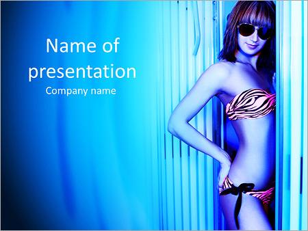 Шаблон презентации Красивая женщина в солярии - Титульный слайд