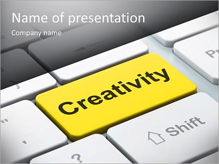 Шаблон презентации Кнопка креатив на клавиатуре - Титульный слайд