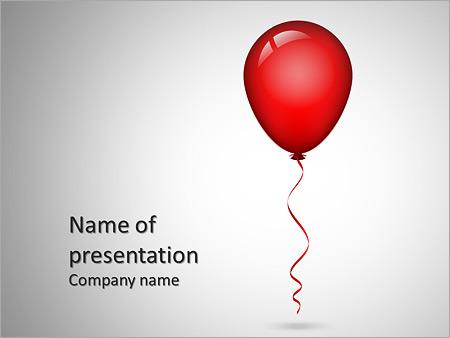 Шаблон презентации Красный воздушный шар с лентой - Титульный слайд