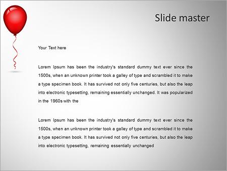 Шаблон PowerPoint Красный воздушный шар с лентой - Второй слайд