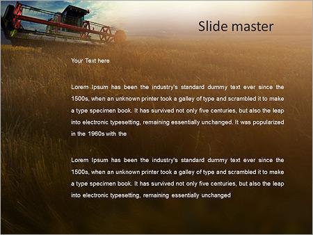 Шаблон PowerPoint Комбайн в поле убирает пшеницу - Второй слайд