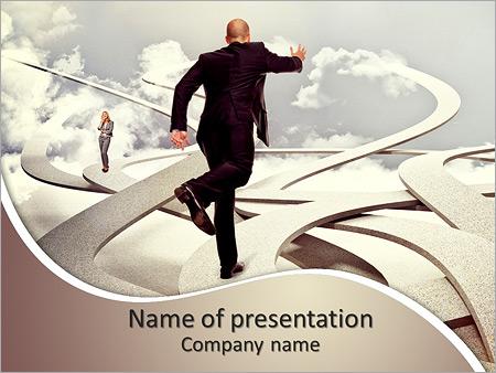 Шаблон презентации Бизнесмен бежит вперед - Титульный слайд