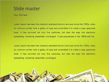 Шаблон PowerPoint Куча денег (доллары) - Второй слайд