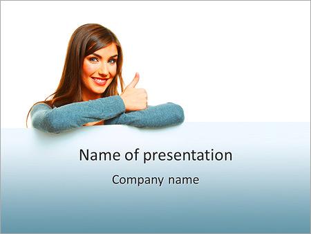 Шаблон презентации Улыбающаяся женщина показывает лайк - Титульный слайд