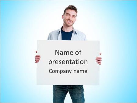 Шаблон презентации Молодой парень держит белый плакат - Титульный слайд