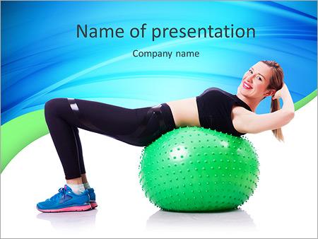 Шаблон презентации Женщина делает упражнения с мячом - Титульный слайд