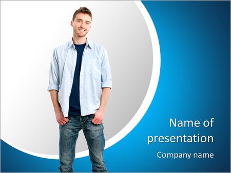 Шаблон презентации Счастливый улыбающийся молодой человек - Титульный слайд