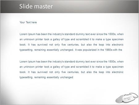 Шаблон PowerPoint Металлические жетоны на шею - Второй слайд