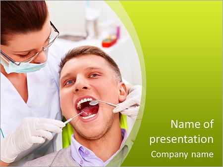 Шаблон презентации Стоматолог лечит зубы пациента - Титульный слайд