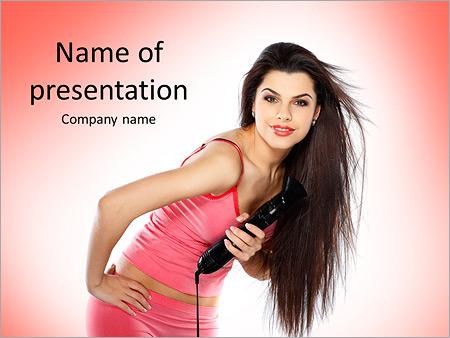 Шаблон презентации Молодая и красивая девушка с феном - Титульный слайд