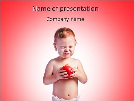 Шаблон презентации Ребенок мальчик с яблоком руках - Титульный слайд