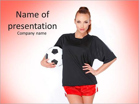 Шаблон презентации Красивая девушка с футбольным мячом - Титульный слайд