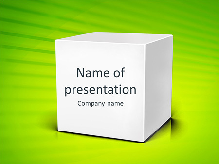 Шаблон презентации Белый куб на зеленом фоне - Титульный слайд