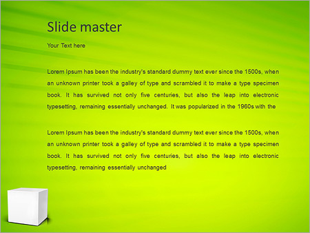 Шаблон PowerPoint Белый куб на зеленом фоне - Второй слайд