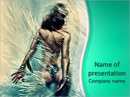 Шаблон презентации Девушка в душе за занавеской - Титульный слайд